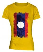 Laos Grunge Flag Ladies T-Shirt