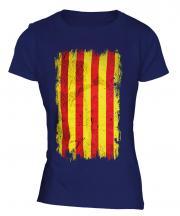 Catalonia Grunge Flag Ladies T-Shirt