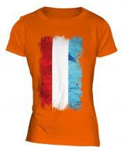 Luxembourg Grunge Flag Ladies T-Shirt