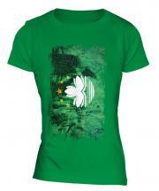 Macau Grunge Flag Ladies T-Shirt
