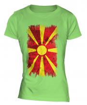 Macedonia Grunge Flag Ladies T-Shirt