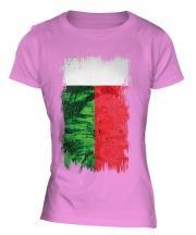 Madagascar Grunge Flag Ladies T-Shirt