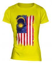 Malaysia Grunge Flag Ladies T-Shirt