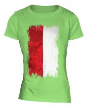 Monaco Grunge Flag Ladies T-Shirt