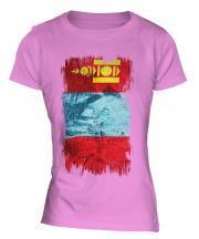 Mongolia Grunge Flag Ladies T-Shirt