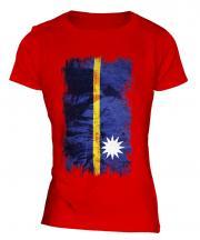 Nauru Grunge Flag Ladies T-Shirt