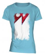 Nepal Grunge Flag Ladies T-Shirt