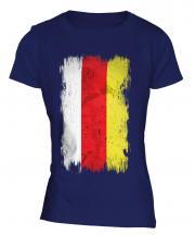 North Ossetia Grunge Flag Ladies T-Shirt