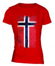 Norway Grunge Flag Ladies T-Shirt