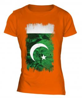 Pakistan Grunge Flag Ladies T-Shirt