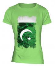 Pakistan Grunge Flag Ladies T-Shirt