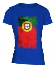 Portugal Grunge Flag Ladies T-Shirt