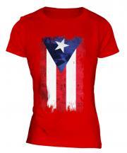 Puerto Rico Grunge Flag Ladies T-Shirt