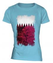 Qatar Grunge Flag Ladies T-Shirt