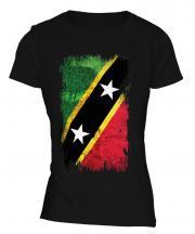 Saint Kitts And Nevis Grunge Flag Ladies T-Shirt