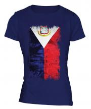 Saint Martin Grunge Flag Ladies T-Shirt