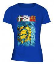 Saint Pierre And Miquelon Grunge Flag Ladies T-Shirt