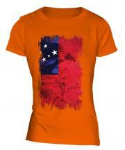 Samoa Grunge Flag Ladies T-Shirt