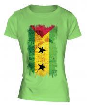 Sao Tome E Principe Grunge Flag Ladies T-Shirt