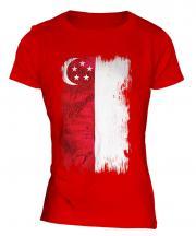 Singapore Grunge Flag Ladies T-Shirt