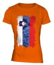 Slovenia Grunge Flag Ladies T-Shirt