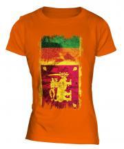 Sri Lanka Grunge Flag Ladies T-Shirt
