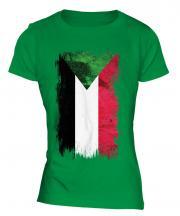 Sudan Grunge Flag Ladies T-Shirt
