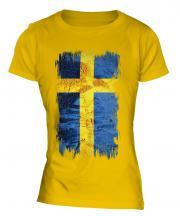 Sweden Grunge Flag Ladies T-Shirt