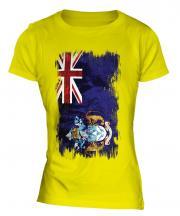 Tristan Da Cunha Grunge Flag Ladies T-Shirt