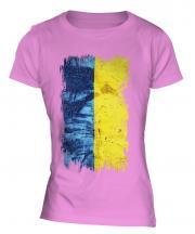 Ukraine Grunge Flag Ladies T-Shirt