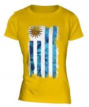 Uruguay Grunge Flag Ladies T-Shirt