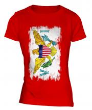 Us Virgin Islands Grunge Flag Ladies T-Shirt