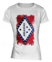 Arkansas State Grunge Flag Ladies T-Shirt