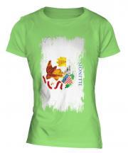 Illinois State Grunge Flag Ladies T-Shirt