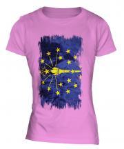 Indiana State Grunge Flag Ladies T-Shirt