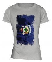 Maine State Grunge Flag Ladies T-Shirt