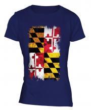 Maryland State Grunge Flag Ladies T-Shirt