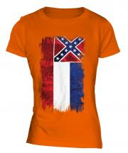 Mississippi State Grunge Flag Ladies T-Shirt