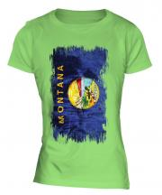 Montana State Grunge Flag Ladies T-Shirt