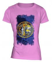 Nebraska State Grunge Flag Ladies T-Shirt