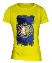 New Hampshire State Grunge Flag Ladies T-Shirt