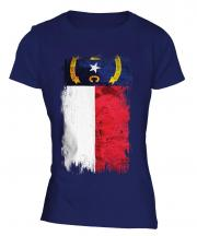 North Carolina State Grunge Flag Ladies T-Shirt