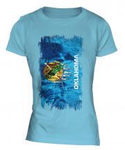 Oklahoma State Grunge Flag Ladies T-Shirt