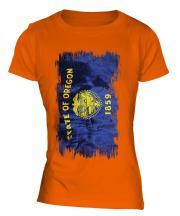 Oregon State Grunge Flag Ladies T-Shirt