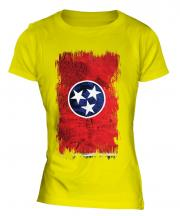 Tennessee State Grunge Flag Ladies T-Shirt