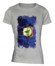 Vermont State Grunge Flag Ladies T-Shirt