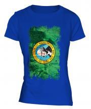 Washington State Grunge Flag Ladies T-Shirt