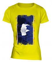 Wyoming State Grunge Flag Ladies T-Shirt
