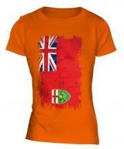 Ontario Grunge Flag Ladies T-Shirt