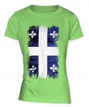 Quebec Grunge Flag Ladies T-Shirt